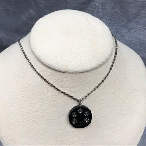 CHANEL ROUND ENAMEL BLACK NECKLACE WITH SS CHAIN